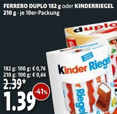 [KAISERS/TENGELMANN] Kinder Riegel 10er 210g für 0,39€ (Angebot+Coupon)