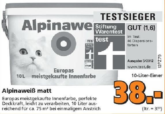 lokal?] Globus Baumarkt (Königsbrunn) Alpinaweiß mit der Katze für 38€ (10l) + Cashback