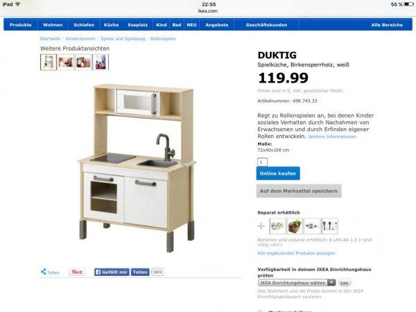 Ikea Duktig Spielküche online 79€  für Familycard Inhaber + Versandkosten