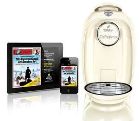 [GROUPON] Tchibo Cafissimo Picco Kaffeemaschine snow-white + 9 Ausgaben FOCUS Digital für 19,98€