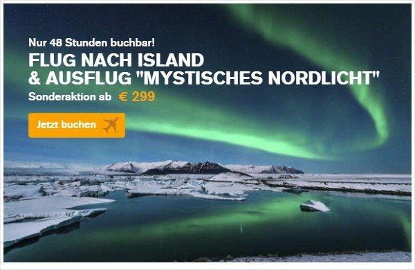 48 Stunden Angebot: Flug & Nordlicht-Ausflug ab € 299