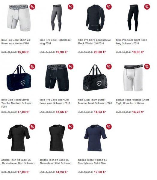 Nike Pro,Adidas Tech Fit und Nike Taschen ab 14,23€ - Immernoch gültig