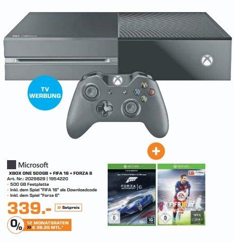 [Saturn und Amazon] MICROSOFT Xbox One Konsole 500GB inkl. FIFA 16 (DL) + Forza Motorsport 6 (Disc) für 339,-€ bei Filialabholung***Update***Amazon zieht mit.339,99-€ Versandkostenfrei