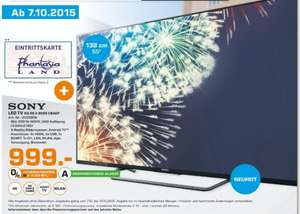 [Lokal Saturn Köln Hansaring] Sony KD-55X8005C Fern­se­her 139 cm (55 Zoll) 4K Ultra HD LED-TV, 200 Hz, Twin HD Triple Tuner, An­dro­id TV für 999,-€ inc. 1xFreikarte ins Phantasialand