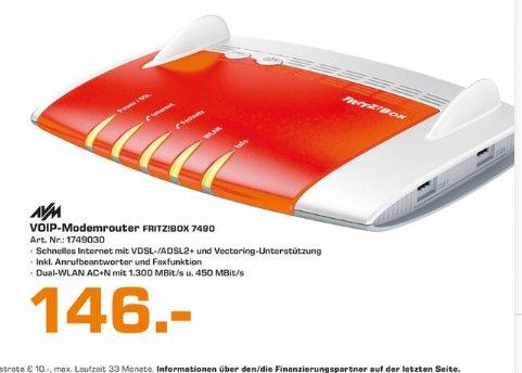 [Saturn Stuttgart und Esslingen] Alter Schwabe....AVM FRITZ!Box 7490 WLAN-Modem-Router ADSL, ADSL2+, VDSL 2.4 und 5 GHz 1750 MBit/s Gigabit-LAN für 146,-€