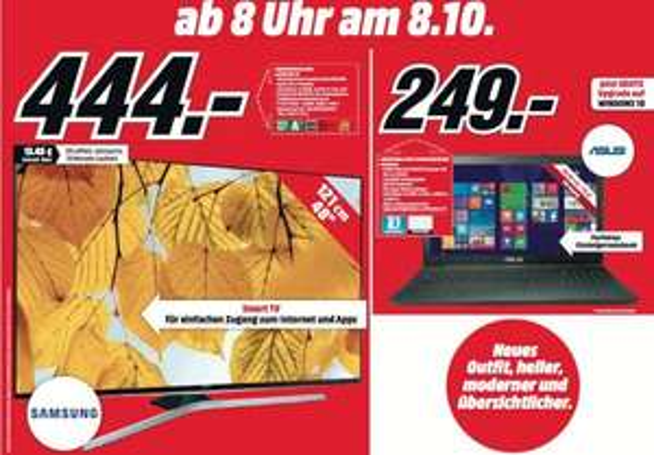[Lokal Kiel] Neueröffnung MediaMarkt Schwentinental am 08.10. - z.B. Samsung UE48J6250 Full HD LED TV