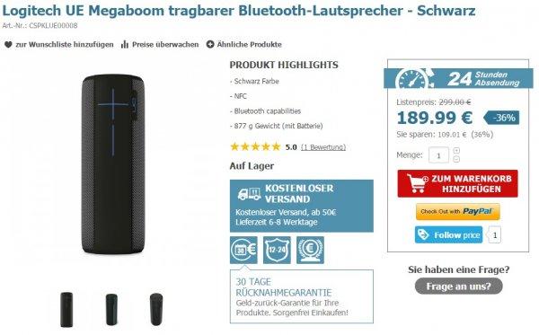 Logitech UE Megaboom Lautsprecher - 189€ inkl. Versand