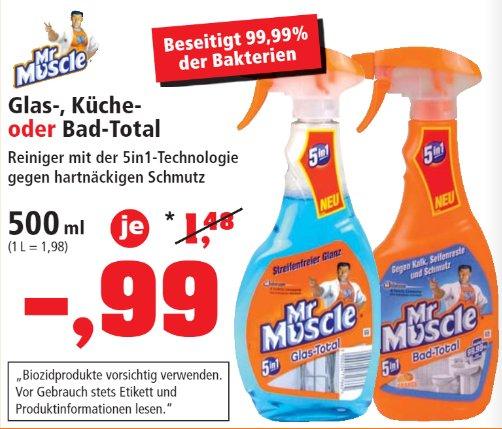 [THOMAS PHILIPPS]KW42: 7x Mr. Muscle Glas-/Küche- oder Bad-Total 500ml für 0,68€/Flasche
