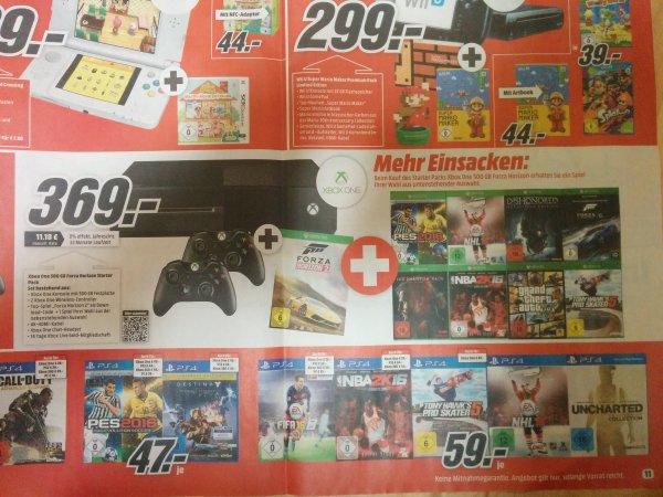 (bundesweit und online) Media Markt: Xbox One 500gb mit 2 Controller, Forza Horizon 2 plus 1 Spiel nach Wahl aus Liste (z.B. Forza 6)