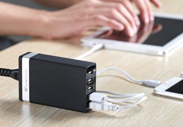40W 5-Port High Speed Desktop-USB-Ladegerät für die ganze Familie mit intelligenter IC Lade-Technologie @Amazon.de
