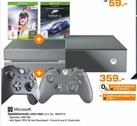 [Lokal Saturn Bochum,Witten,Hattingen] MICROSOFT Xbox One Konsole 500GB inkl. FIFA 16 (DL) + Forza Motorsport 6 (Disc) + 2.ten Controller für 359,-€