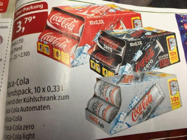 Aldi Süd 10er Coca Cola Dosen