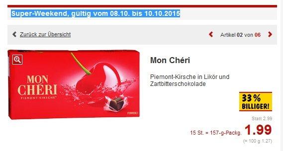 Mon Chéri zum Preis von 1,99 € im Kaufland vom 8-10.10
