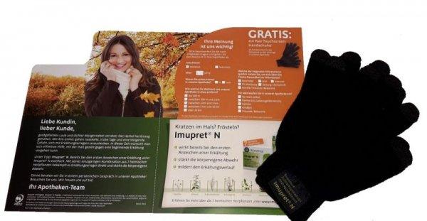 Gratis in der Apotheke: ein Paar Touchscreen-Handschuhe