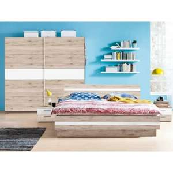 [Trends by Ostermann] Schlafzimmer Set: Bett, Schwebetürenschrank, 2 Nachtkonsollen (online +59 € VK)