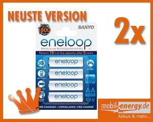 [Allyouneed] 8x Panasonic Eneloop Akku BK-3MCCE Mignon AA 2000mAh (min. 1900mAh) HR6 - NEUSTE VERSION für 14,99 EUR