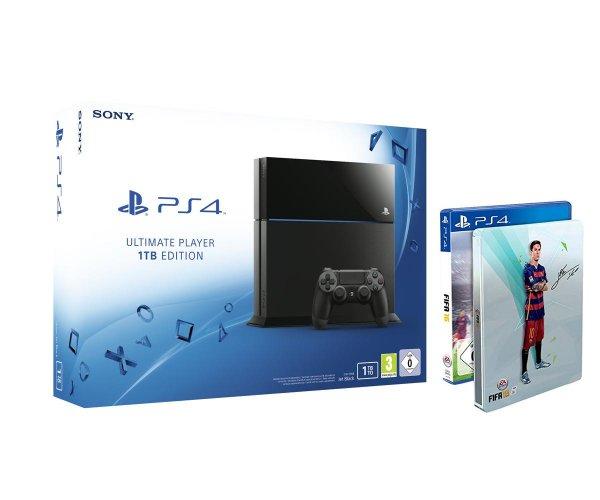 [Amazon.de] PlayStation 4 1TB + FIFA 16 - Steelbook Edition - neuste PS4 Revision (CUH-1216B)