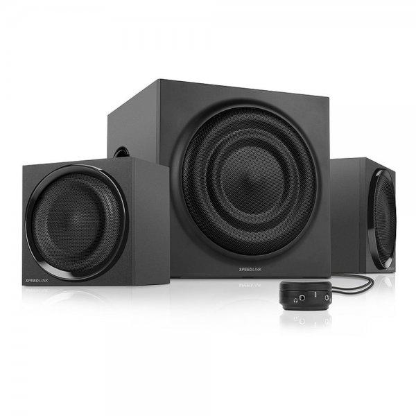 [One] Speedlink Quanum aktives 2.1 Lautsprechersystem (35 Watt RMS Gesamtleistung, 70 Watt Peak Power, Tischfernbedienung, Holzgehäuse) schwarz Bestpreis