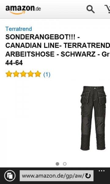 Amazon: SONDERANGEBOT!!! - CANADIAN LINE- TERRATREND - ARBEITSHOSE - SCHWARZ - Gr. 56/58/60