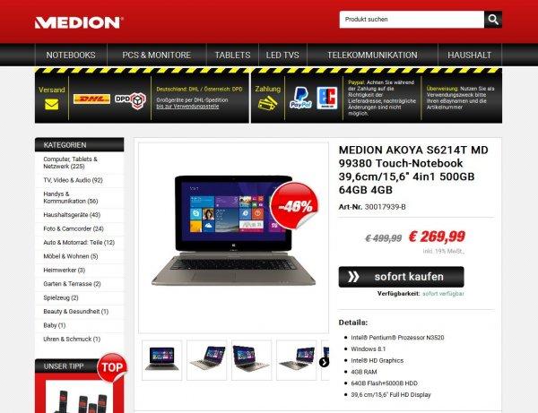 "[Ebay] MEDION AKOYA S6214T MD 99380 15,6"" Touch-Notebook 4in1 500GB 64GB SSD 4GB RAM WIN 8.1 (B-Ware) - Payback oder Qipu möglich"