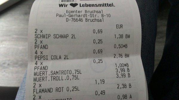 (Lokal) Pepsi,Pepsi light und Schwip Schwap in Edeka Bruchsal 2L für 69 cent