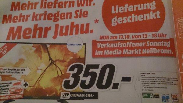 Lokal Media Markt Heilbronn am verkaufsoffenen sonntag: Grundig 48 VL 6520 für 350 € (idealo ab 539 €)