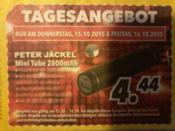 MEDIMAX nur am 15.-16.10.15 PETER JÄCKEL MINI TUBE 2600mAh für 4,44€