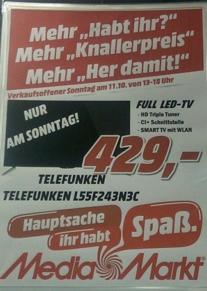 [LOKAL RHEIN-MAIN] Media Markt Bischofsheim nur am Sonntag! Telefunken 55 Zoll Fernseher für 429€