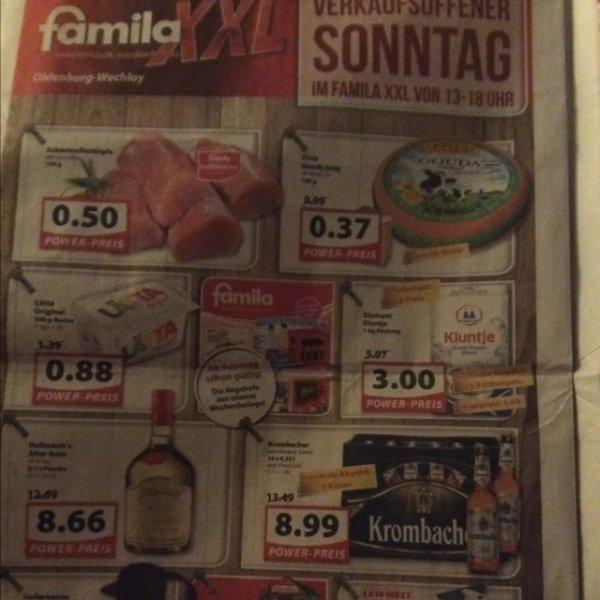 [Oldenburg] Famila XXL z.B Krombacher 8,99€, Frico Gauda 0,37€ 100gr.