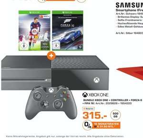 [Lokal Saturn Karlsruhe] Nur Gültig am 11. Oktober..MICROSOFT Xbox One Konsole 500GB inkl. FIFA 16 (DL) + Forza Motorsport 6 (Disc) für 315,-€