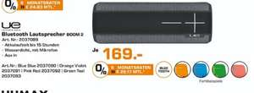 [Lokal Saturn Herford] UE Boom 2 tragbarer Bluetooth-Lautsprecher (wasserdicht, 30m kabellose Reichweite, 360° Sound) alle Farben für je 169€. Nur Gültig am 11.10