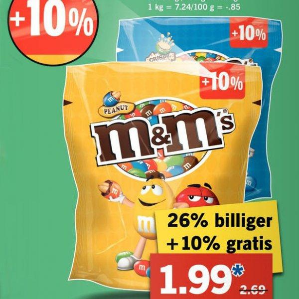 M&M's in der Riesentüte +10% je (275g/235g) Beutel statt 2,99€ nur 1,99 [Lidl]