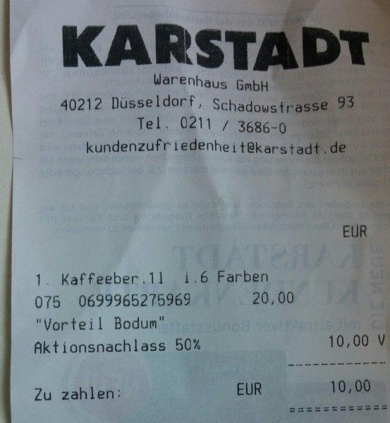 [LOKAL] Karstadt Düsseldorf 50% auf Bodum