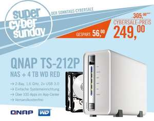 QNAP TS-212P NAS System 4TB inkl. 2x 2TB WD RED NAS HDD WD20EFRX (Cyberport Cybersale)
