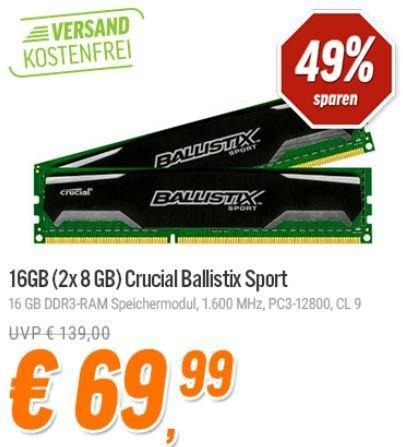 [Notebooksbilliger] Crucial Ballistix Sport Kit 16GB für 69,99€
