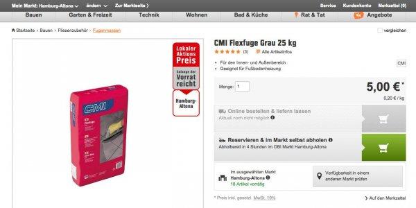 25KG CMI Flexfuge grau 5€ statt 19.99€ @ Obi (Lokal HH Altona) -75%