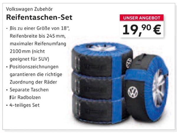 (Lokal VW Bernhardt Heidelberg)VW Volkswagen Original Reifentaschen-Set, 4-teilig, bis zu 18 Zoll, Polyester