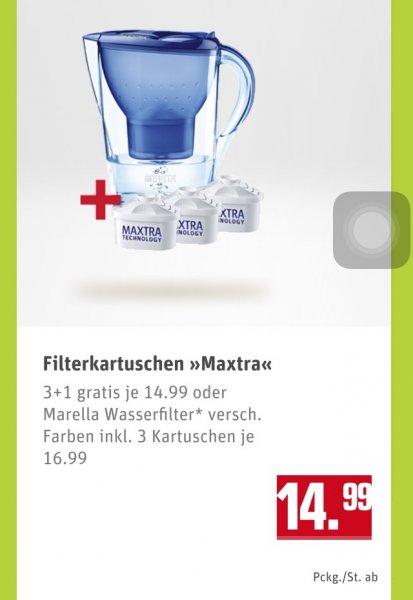 [Rewe] Brita Marella Wasserfilter + 3 Maxtra Kartuschen 16,99 EUR oder 4 Maxtra Kartuschen für 14,99 EUR