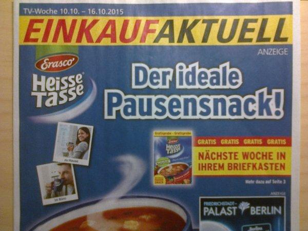 """[Einkaufaktuell Berlin/ev. bundesweit] - Gratisprobe """"Erasco Heisse Tasse"""" diese Woche im Briefkasten"""