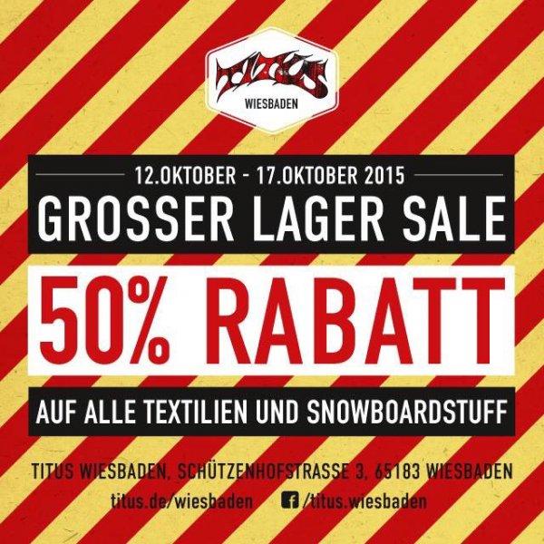 [lokal] 50% Rabatt auf alle Textilien und Snowboardstuff bei Titus Wiesbaden