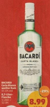 Penny gibts am Fr und Sa Bacardi Carta Blanca weißer Rum für 8,99€