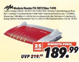 [MediMax] FRITZ!Box / FRITZBox 7490 für 154,99 € (mit Restguthaben 151,99 €) für 4 Personen