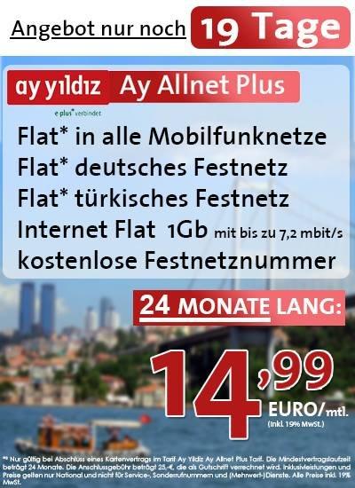 Allnet Flat Von AY YILDIZ  (1GB INTERNETFLAT) für nur 14,99€ nur bei Cepnet