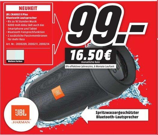 [Lokal Mediamärkte Hamburg und Umgebung] JBL Charge 2+ Wireless Bluetooth-Lautsprecher mit Mic,verschiedene Farben für je 99,-€
