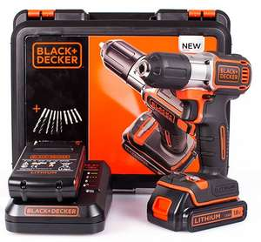 [ebay WOW] Black & Decker ASD18KBA10 Akkuschrauber 18V inkl. 2 Lithium Akkus Bit & Bohr Set