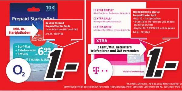 [lokal MM Kaiserslautern] O2 & Telekom Xtra Prepaid Starter-Set inkl. 10€ Startguthaben für je 1€
