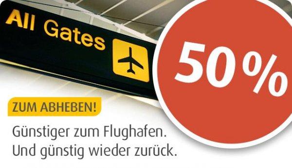 mytaxi - Flughafenfahrt nur 50% per mytaxi APP