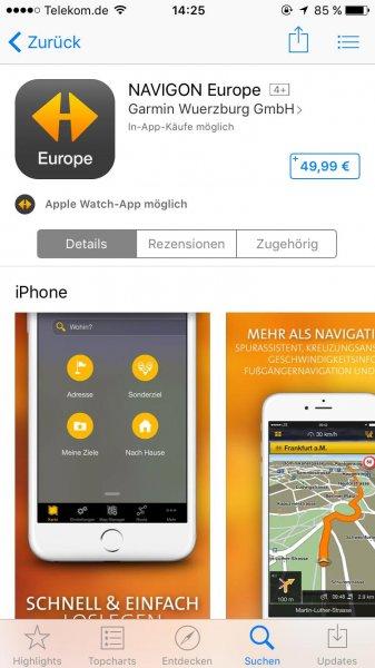 [iOS / Android] NAVIGON Europe Angebot für 49,99€ im AppStore