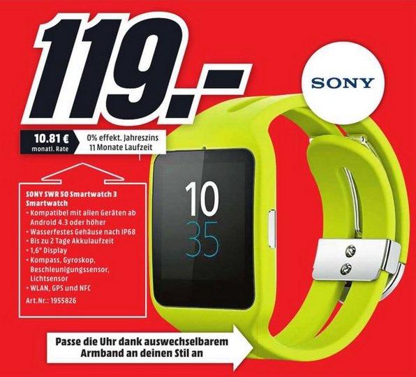 (lokal)Sony SmartWatch 3 SWR50 Silikon-Sportarmband gelb@ Dortmund Mediamarkt Oespel Idunapark