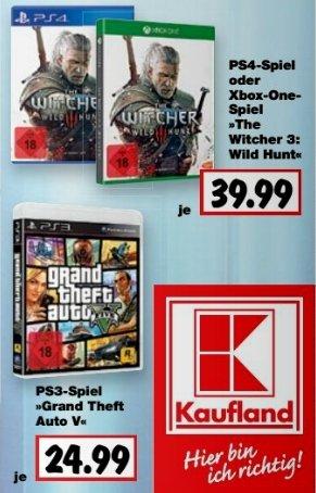 """[Kaufland] Ab 19.10...The Witcher 3:Wild Hunt für PS4 und XBoxOne für je 39.99€ oder Grand Theft Auto 5(PS3) für 24,99€  """"FAST"""" Bundesweit"""
